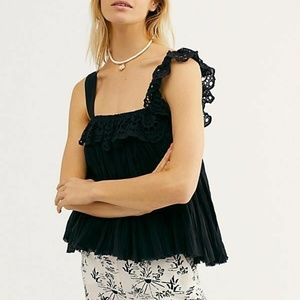 Free People FP ONE Garden Party Eyelet Black Top M